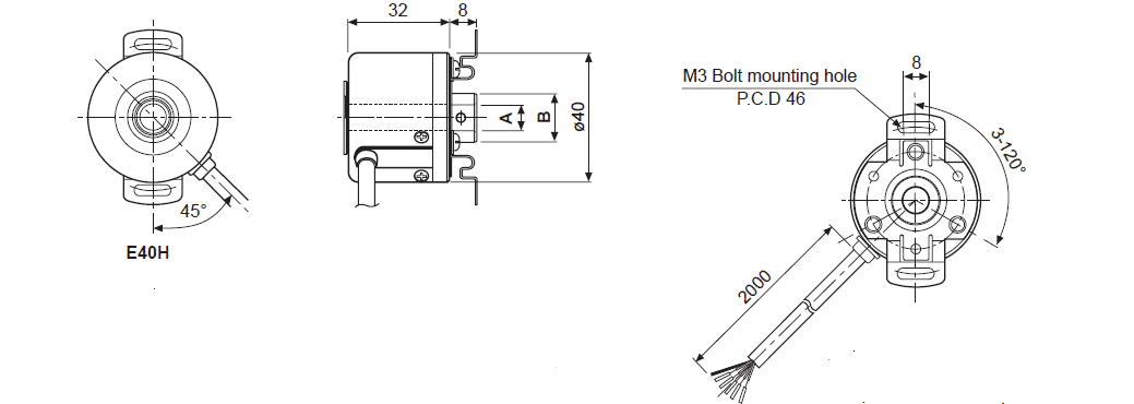 ابعاد روتاری انکودر آتونیکس E40H12-1000-3-T-24