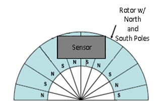 Rotor with north and south poles
